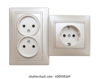 Single and double electrical outlet isolated on white background. Flat lay, top view