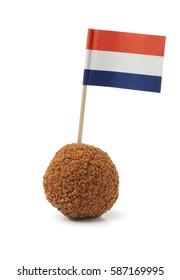 Single dutch traditional snack bitterbal with a dutch flag  on white background