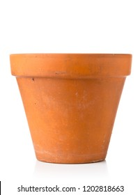 Single empty, used terracotta planting pot over white background