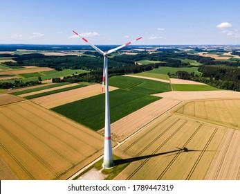 Single Enercon Windmill in a Bavarian field