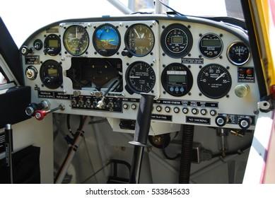 Single engine airplane cockpit.