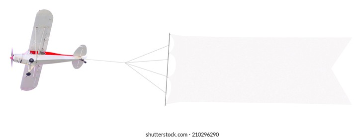 Single engine plane flying with blank banner isolated on a white background