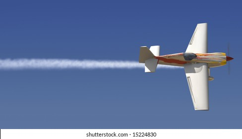 Single engine plane in the sky with a trail of smoke following it