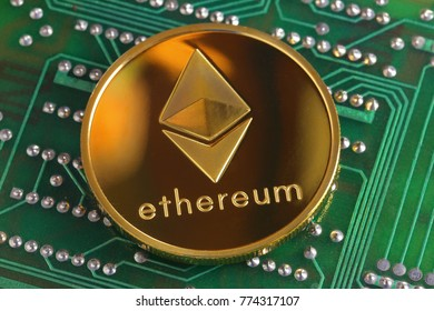 Single Ethereum cryptocurrency on a circuit board