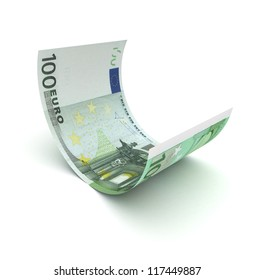 Single Euro on white background (computer generated image)