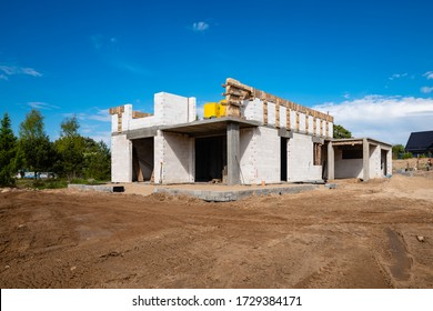 single family house construction site