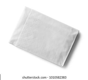 Single Folded Tissue Isolated on a White Background.