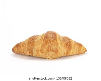 single french croissant on white background