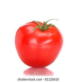 Single fres tomato isolated on white background