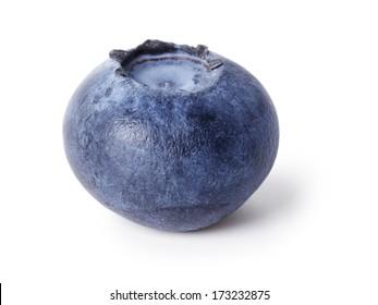 single fresh blueberry, isolated on white background