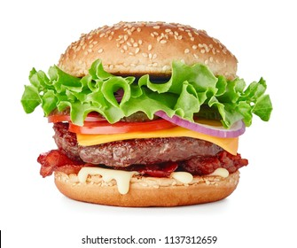 single fresh burger with cheese and bacon isolated on white background