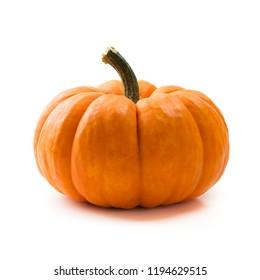 Einzel-frischer orangefarbener Miniaturkürbis einzeln auf weißem Hintergrund