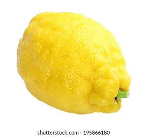 Single fresh yellow lemon. Isolated on white background. Close-up. Studio photography.