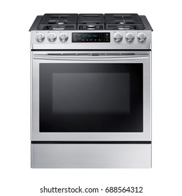 Single Gas Range Cooker with Warming Drawer Isolated on White Background. Steam Fuel Range with a Large-Capacity Convection Oven and Five-Burner Cooktop. Stainless Steel Gas Stove. Five Burner Gas Hob