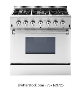 Single Gas Range Cooker with Warming Drawer Isolated on White Background. Steam Fuel Range with a Large-Capacity Convection Oven and Six-Burner Cooktop. Front View of Stainless Steel Stove