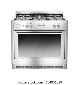 Single Gas Stove with Warming Drawer Isolated on White Background. Front View of Stainless Steel Range Cooker with a Large-Capacity Convection Oven and Five Burner Cooktop Hob