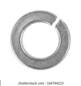 A single generic galvanized lock washer on a white background.