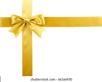 single gift bow, golden satin, with cross ribbons isolated on white