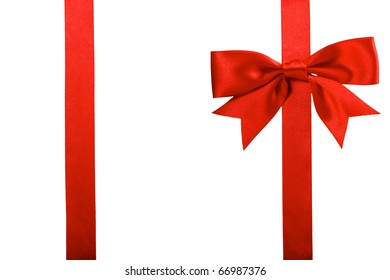 single gift bow, red satin, with two ribbons isolated on white