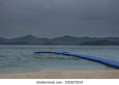 Single girl with swimming suit in the sea landscape of at Koh Khai Islands, Phuket province, Thailand.