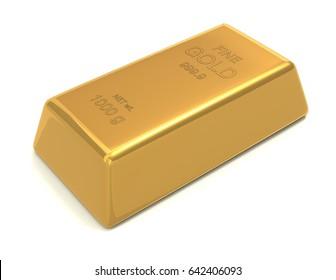 single gold bar 3d illustration isolated on white background
