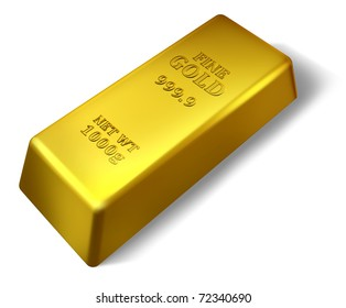 Single gold bar isolated on white representing wealth success and security.