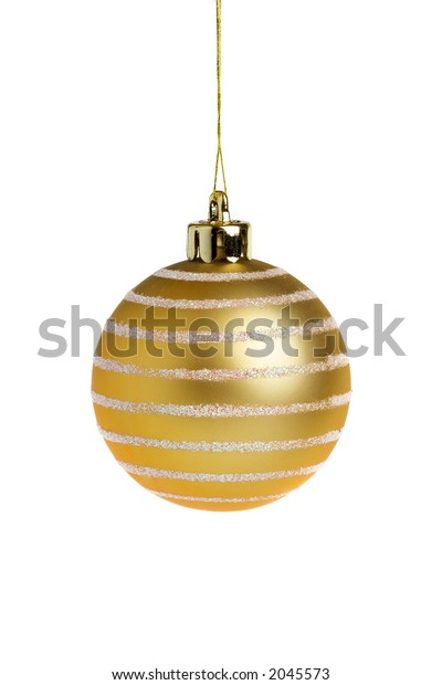 Single golden Christmas ball, isolated on a white background