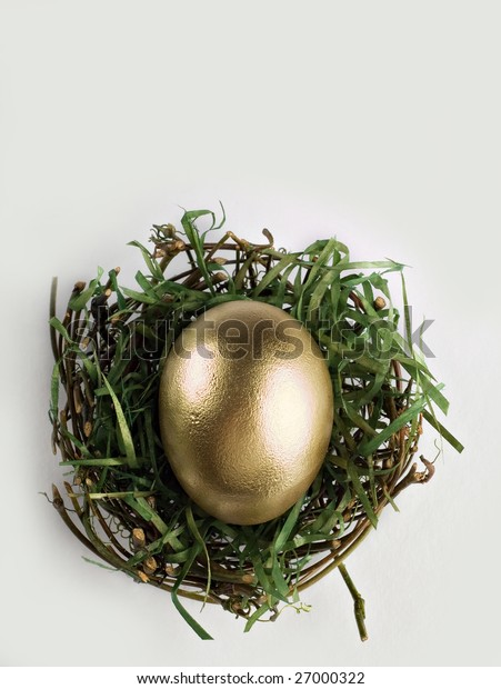 Single golden egg in dried out nest