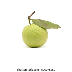 Single guava fruit with leaf isolated on white background