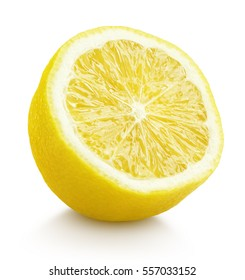 Single half lemon citrus fruit isolated on white background. One lemon half with clipping path