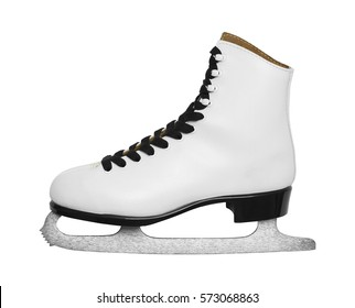SIngle Ice Skate Side View Cut Out on White.