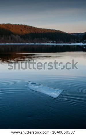 Floating In Twilight Winter Haze Like >> Single Icefloe Floating Beautiful Mountain Lake Stock Photo Edit