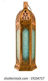 single isolated on white,with clipping path, moroccan style roughly textured copper lantern with blue patterned glass