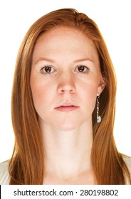 Single isolated serious female with blank stare