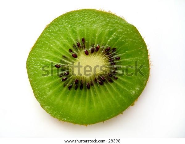 A single kiwi slice.