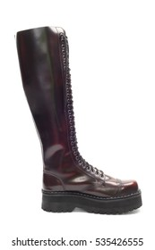 Single leather boot, isolated over white