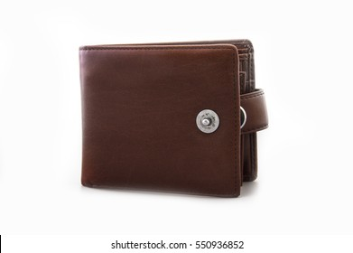Single leather wallet isolated on white background
