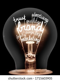 Single light bulb with shining fibers in a shape of Brand, Identity, Value, Marketing and Trust concept related words isolated on black background.