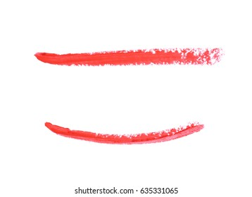 Single line marker stroke of a wax crayon as a design underline element, isolated over the white background, set of two different foreshortenings