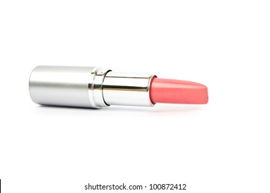 Single lipstick isolated on white