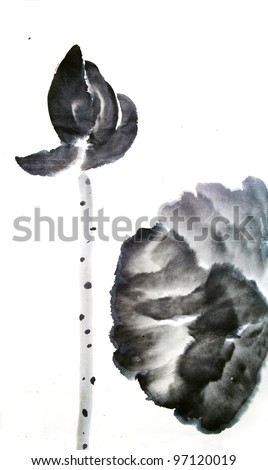 Single Lotus Flower Leave Summertraditional Chinese Stock Photo
