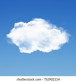 Single loud isolated over solid background 3D illustration, realistic cloud shape rendering, fluffy natural cumulus cloud