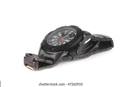 single male black watches over white background
