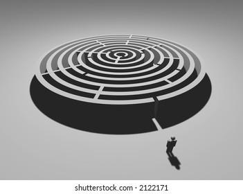 Single man at circular labyrinth entrance
