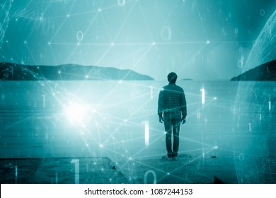 Single man on beach with futuristic binary numbers network background.