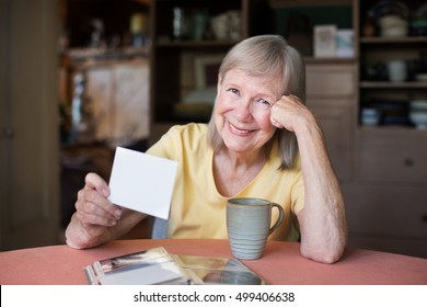 Single mature adult female with amused expression looking through photos in picture album
