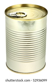 Single metal can. Close-up. Isolated on white background. Studio photography.