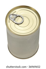 Single metal can. Top view. Close-up. Isolated on white background.