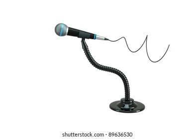 a single microphone on white