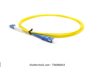 Single mode LC, SC patch cable with blue white connector, white background